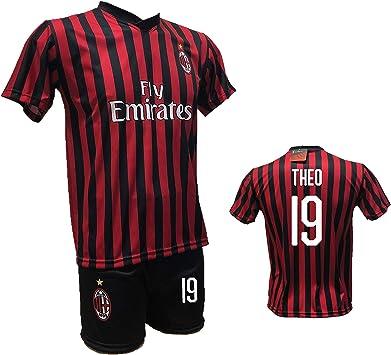 DND Di Andolfo Ciro - Camiseta de fútbol Theo Hernandez Milan y pantalón corto con número 19 estampado réplica autorizada 2019-2020 tallas para niño y adulto: Amazon.es: Ropa y accesorios