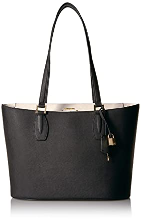 a461dd7ff5e Amazon.com: Calvin Klein Brooke Key Item Saffiano Tote Tote Bag, BLK/WHT,  One Size: Clothing