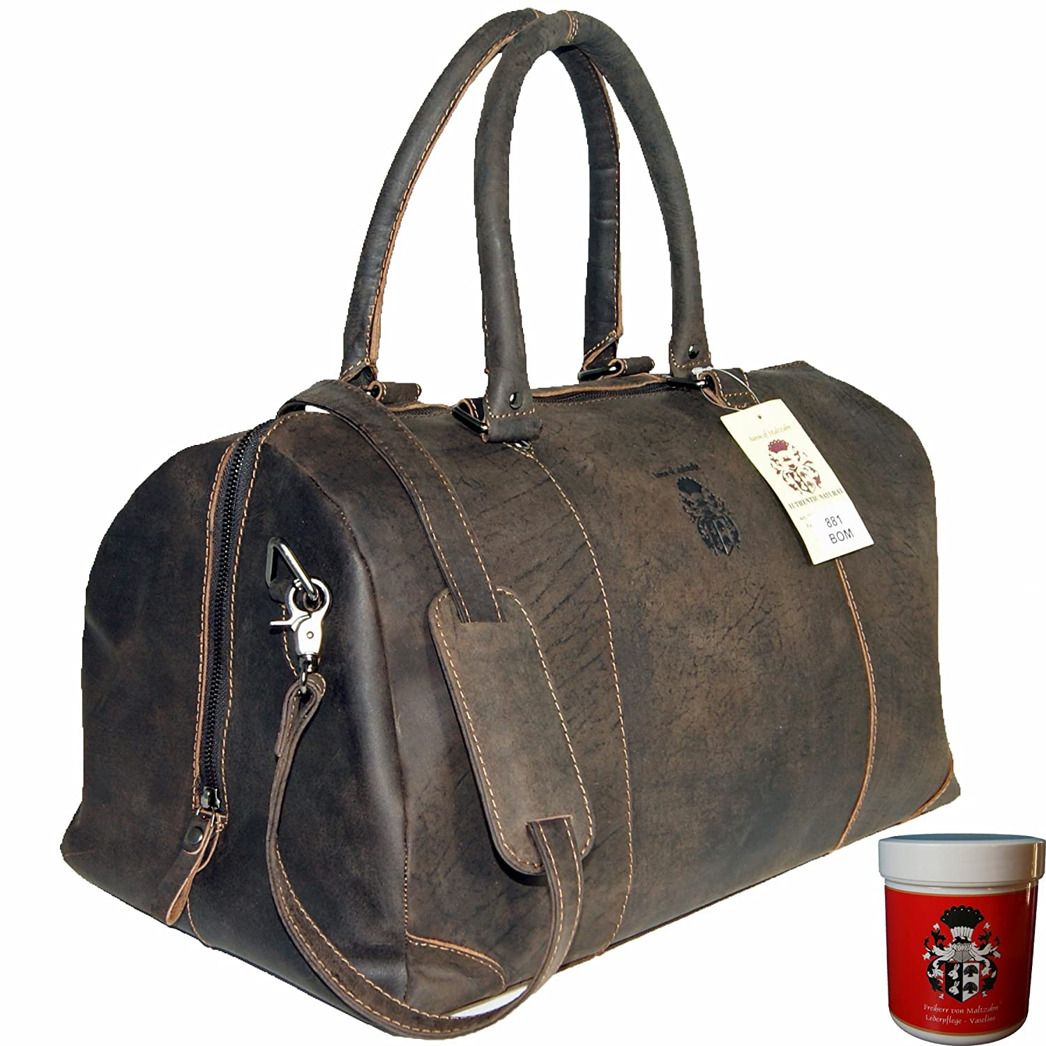 BARON of MALTZAHN - Travel Bag - Sports Bag LONDON made of buffalo leather incl. leather care