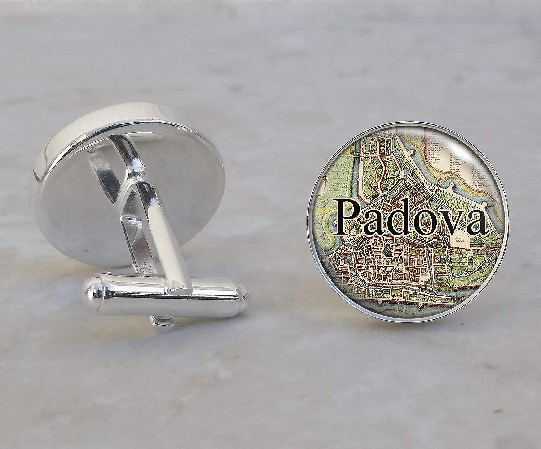 Padova Italy 1704 Map .925 Sterling Silver Cufflinks
