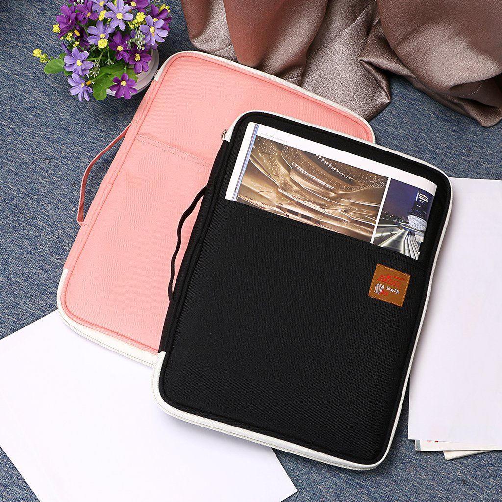 BTSKY Multi-Functional A4 Document Bags Portfolio Organizer-Waterproof Travel Pouch Zippered Case for Ipads Pens Notebooks Dark Blue Documents