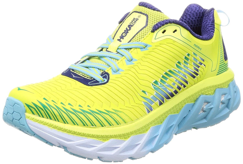 HOKA ONE ONE Mens Arahi Running Shoe B01N4G8AWN 7 B(M) US|Sunny Lime/Blue Topaz