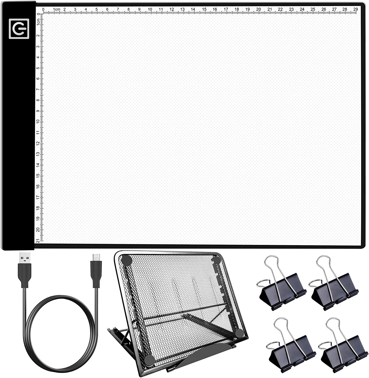 HIRALIY Diamond Painting Light Pad Kit with Metal Stand, A4 LED Light Box USB Powered Dimmable Tracing Light Board with 4 Fasten Clips for Easy Vinyl Weeding,Tracing,Drawing