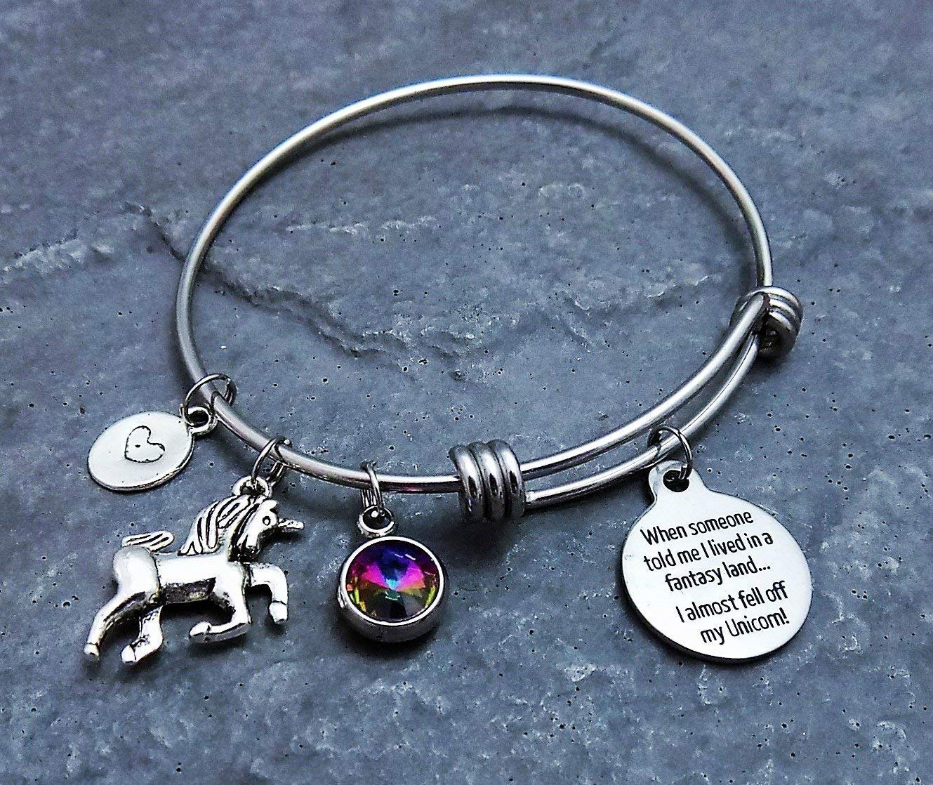 Magical Unicorn Charm Bracelet with Rainbow Colored Pendant Stainless Steel Expandable Bangle 3