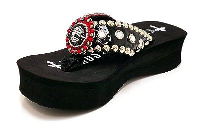 422a3a84b22eb6 Gypsy Soule Georgia Bulldogs Swarovski Wedge Flip Flop Sandals (11) Red
