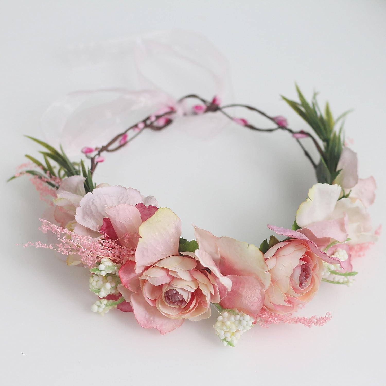 Amazon.com: flowerpluslove corona de flores floral hecho a ...
