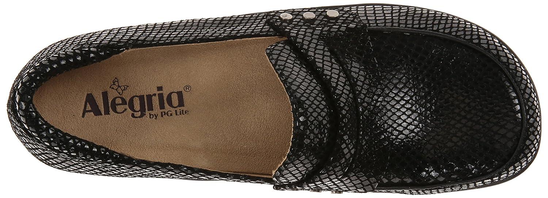 Alegria Women's Taylor Pro Black Glossy Snake Loafer