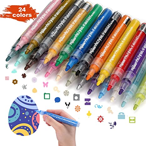 Acrylic Paint Marker Pens,Paint Pens for Rocks Painting,Wood,Fabric,Plastic,Canvas,Glass,Porcelain,Mugs,DIY Craft Card Making,Art School Supplies.Water Based Acrylic Paint Markers Set of 24 Colors