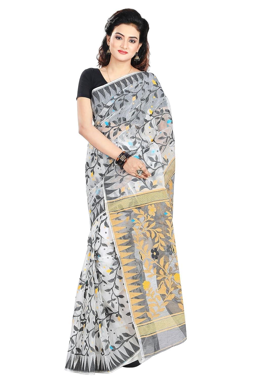 Black & White Color Jamdani Georgette Saree With Blouse Piece
