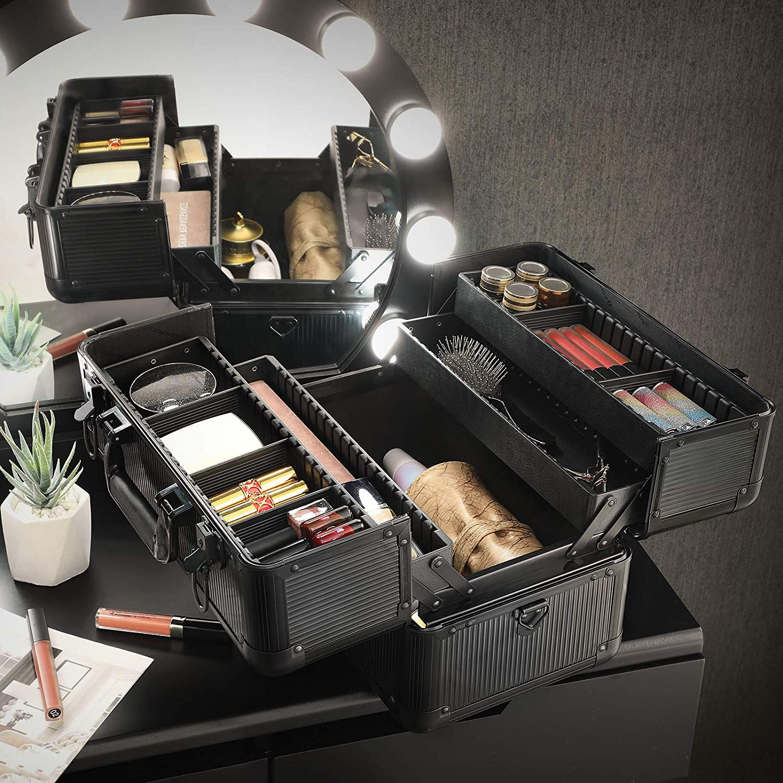 Kosmetiker f/ür N/ähzeug SONGMICS Kosmetikkoffer Make-up Box Visagisten und Maskenbildner abschlie/ßbarer Kosmetikkasten mit Schultergurt schwarz JBC321BKV1 Beauty Case f/ür Friseure
