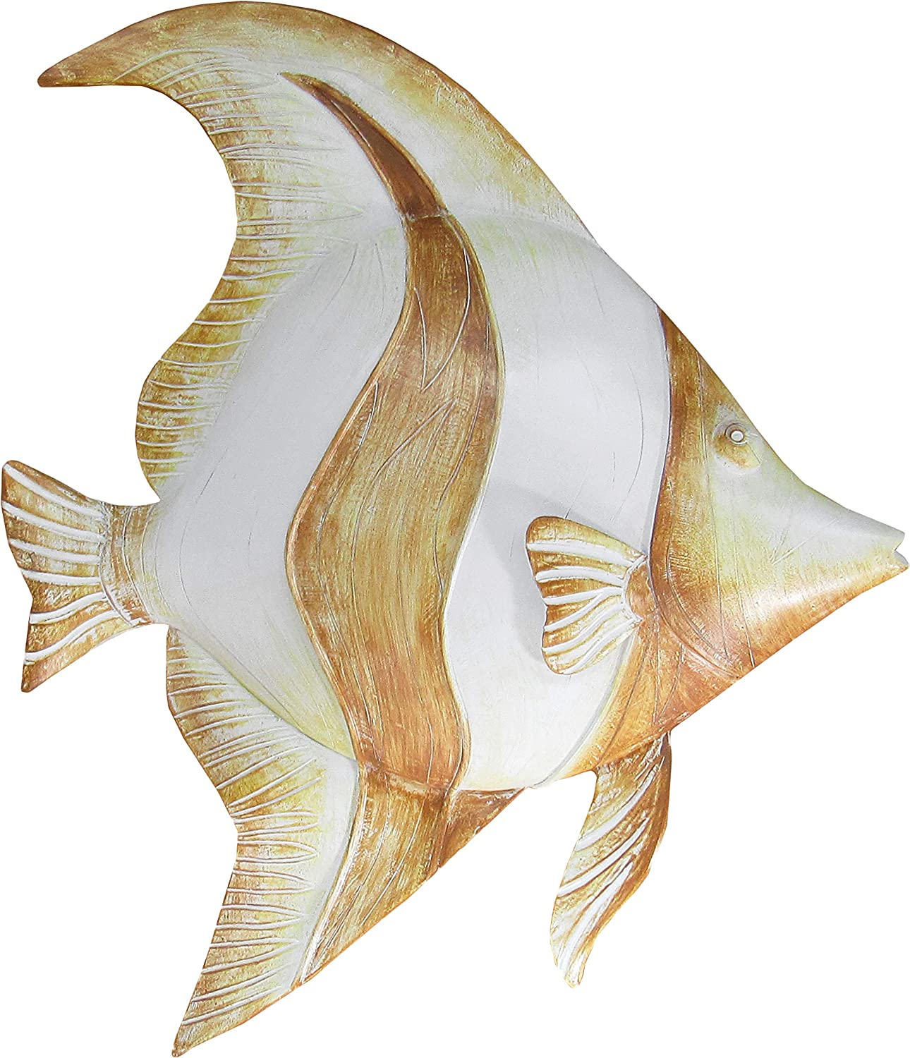 World of Wonders - Ocean Harmony Series - Marina - Elegant Angelfish Wall Sculpture Hand-Painted Easy Mount Beach House Shabby Chic Sea Life Marine Nautical Home Decor Accent, 12-inch