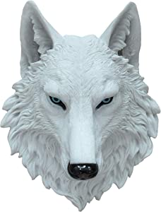 DWK 16.5-inch Spirit Snow White Wolf Head Bust Majestic Faux Taxidermy Wall Mount Forest Mountain Wildlife Sculpture Hanging Plaque Home Decor Accent