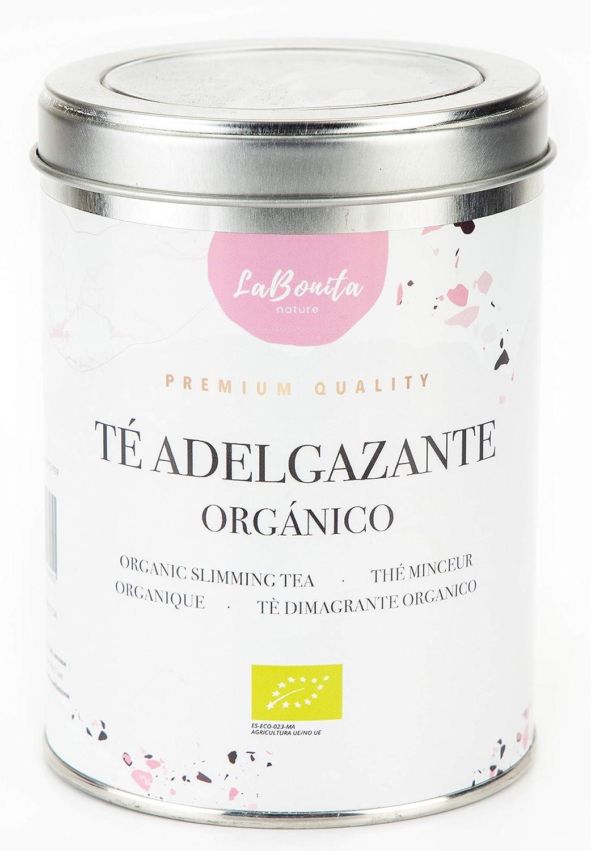 LaBonita Nature, Té Adelgazante quemagrasa para pérdida de peso. 100% Orgánico. Compuesto de té rojo pu-erh, manzana, hibisco, escaramujo y cola de caballo, [Calidad Premium], Lata granel, 100 g