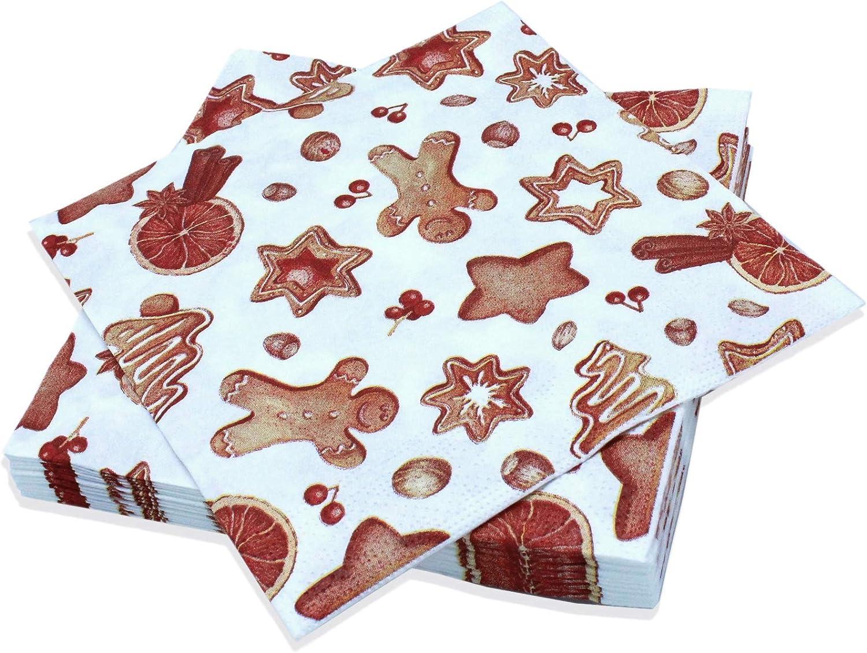 Le Nappage - Servilletas decoradas con delicias navideñas - Servilletas de papel de guata de celulosa pura - Decoración de galletas de Navidad - Juego de 20 servilletas Formato 33 x 33 cm