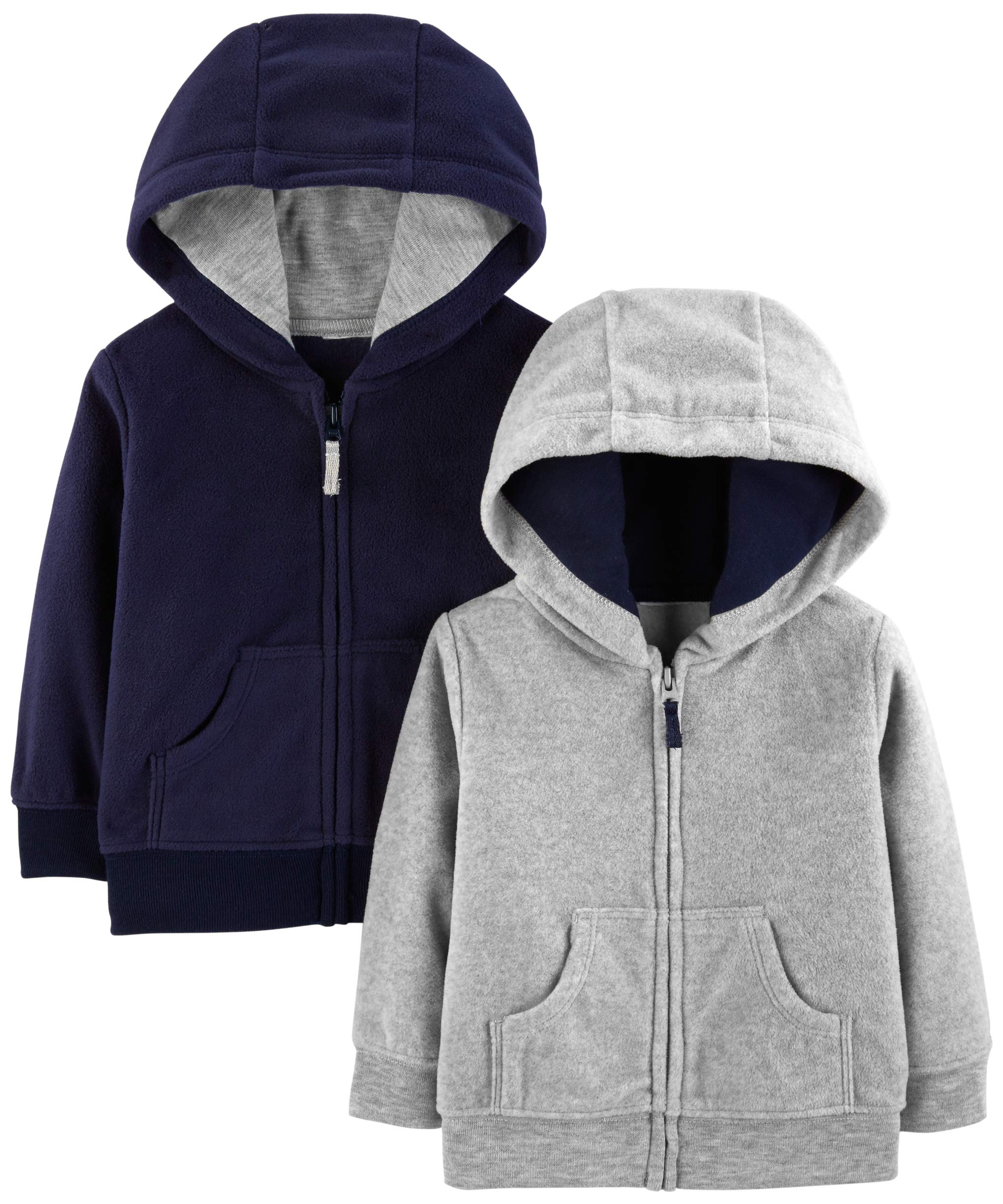 Simple Joys by Carter's Boys' 2-Pack Fleece Full Zip Hoodies, Gray/Navy, 18 Months by Simple Joys by Carter's