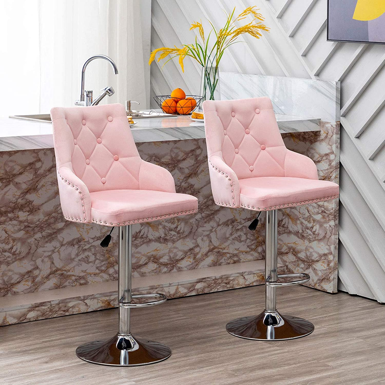 Zoyo Set of 9 Velvet Pink Breakfast Bar Stools Swivel Adjustable Height Bar  Chair with Chrome Footrest for Kitchen Dining Room Bar Restaurant Set of  ...