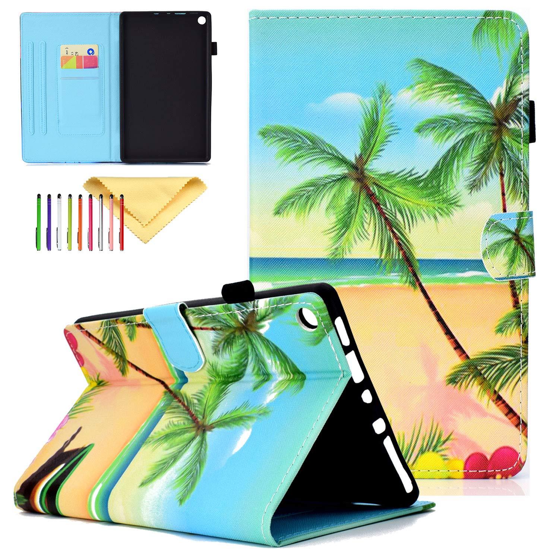 Amazon Fire HD 8 2016/2017/2018ケース Cookk スリム キックスタンド 軽量 スマートカバー 自動スリープ/ウェイク機能付き Kindle Fire HD 8.0インチケース 第6世代 (2016年)/第7世代 (2017年)/第8世代 (2018年) 8.0 Inch CK-2018  #06 Beach Tree B07LFPYH46
