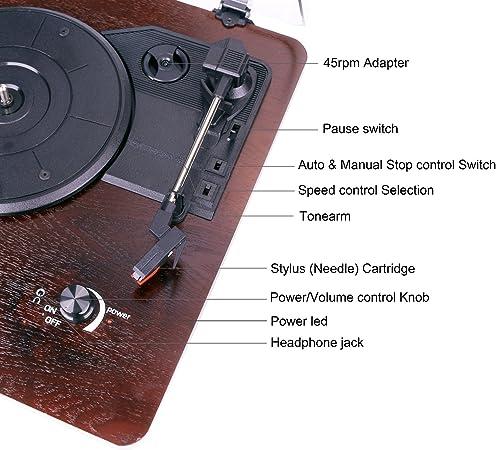 Amazon.com: D & L 3 velocidades Tocadiscos estéreo madera ...