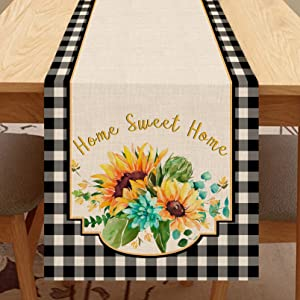 Seliem Watercolor Summer Sunflower Table Runner, Black White Buffalo Plaid Check Table Scarf Home Sweet Home Kitchen Dahlia Flower Decor Sign, Farmhouse Burlap Dining Decoration Party Supplies 13 X 72