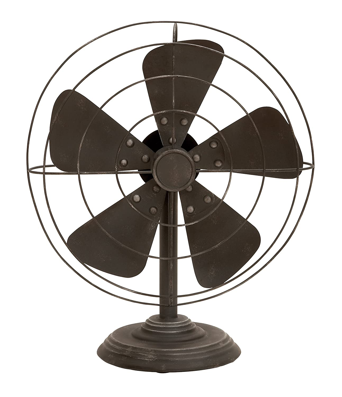Deco 79 Rustic Non-Functional Metal Old Fan Table Decor One Size Textured Black Finish