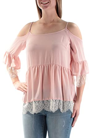1e003c3673e73 State Womens Cold Shoulder Blouse w Lace Trim at Amazon Women s Clothing  store