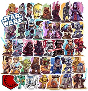 Stickers for Movie Series Cartoon Comic Star Wars 50 Packs for Water Bottles Laptop Hydroflask Refrigerator Computer Phone Mac Pad Luggage Case Moto Bicycle Car Bumper for Boy Men Adult TV Movie Fans
