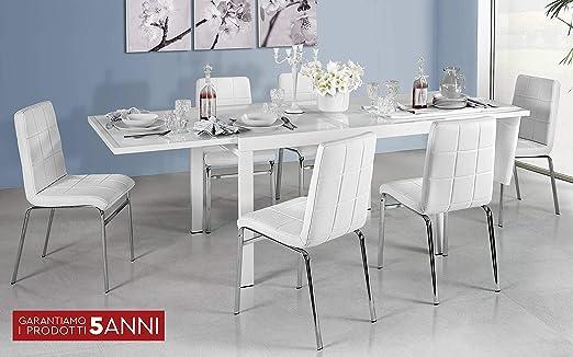Dafnedesign.Com - Mesa Extensible Blanca, Cristal Blanco Leche (cm ...