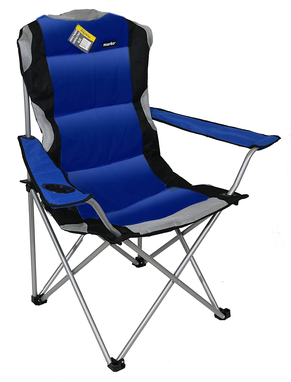 Blue Luxury Padded Folding Camping Chairs Fishing Festivals Garden SUMMER