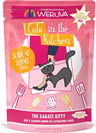 Amazon Com Weruva Cats In The Kitchen Slide N Serve Grain Free Natural Wet Pate Cat Food Pouches The Karate Kitty 3oz Pouch Pack Of 12 Pet Supplies