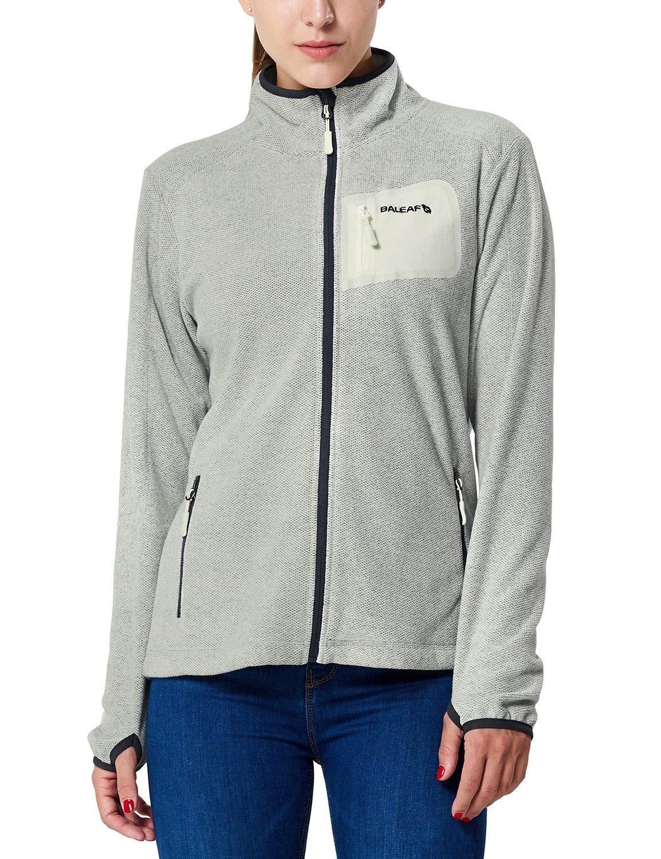 Baleaf Women's Full Zip Mid-Weight Fleece Jacket Pullover Charcoal Heather Size L