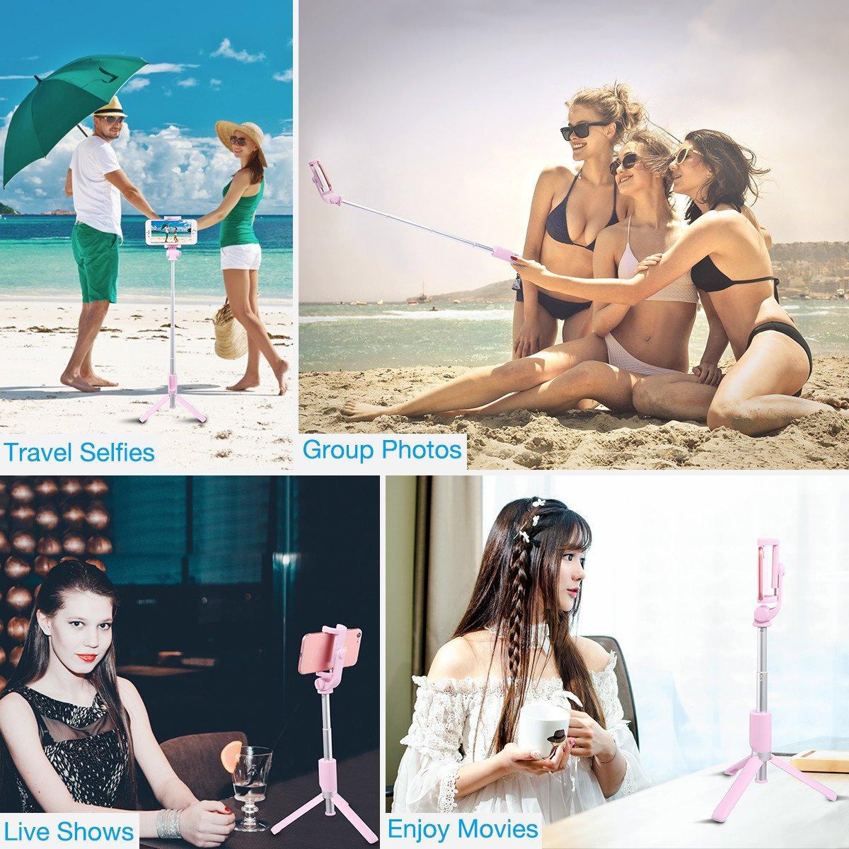 Selfie Stick Tripod,Poweradd Extendable/Foldable Aluminum Selfie Stick with Detachable/Wireless Remote for iPhone X/SE/6/6s/6 Plus/7/7 Plus/8/8 Plus/,Samsung 8/S8/S8 Plus,Nexus,LG,Moto and More-Pink by POWERADD (Image #8)