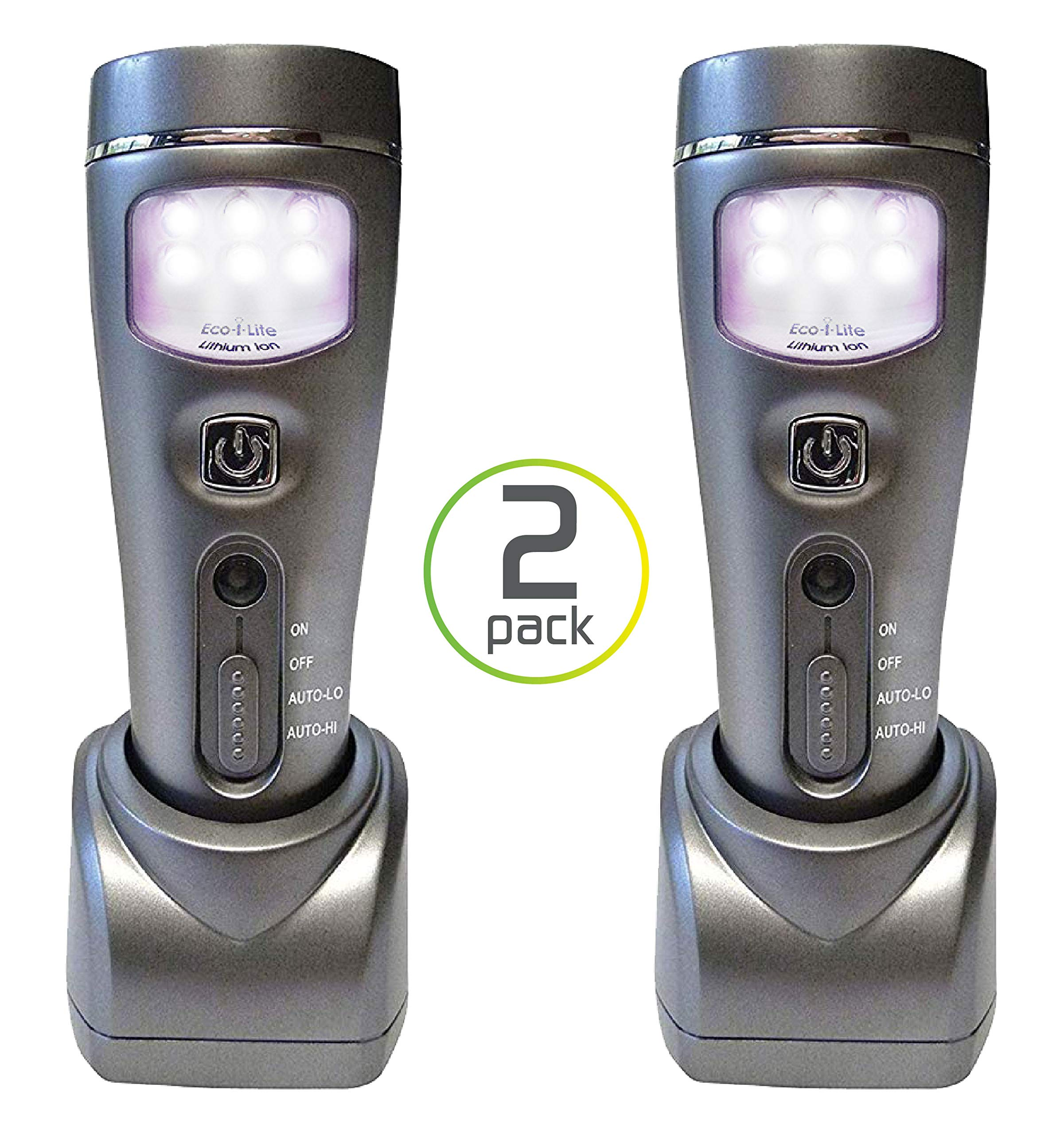 Capstone Lighting 4-in-1 Eco-I-Lite LED Emergency Flashlights, Night Light, Power Failure and Worklight, 2 Pack - Ideal Survival Gear for Your Emergency Kit, Perfect for Power Outages and Hurricanes by Capstone Lighting