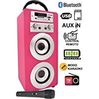 DYNASONIC Altavoz Karaoke Bluetooth 10W, Reproductor mp3 inalámbrico portátil, Lector USB SD, Radio FM - Modelo Color Rosa