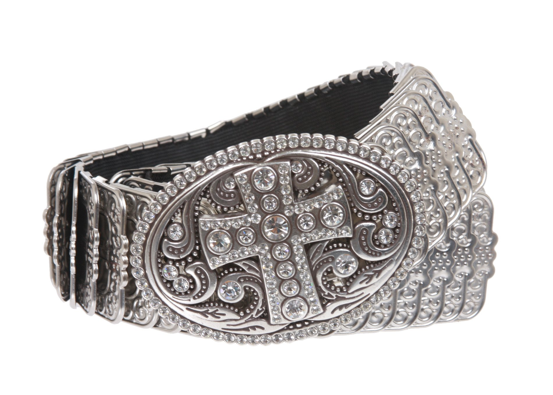 1 3/4'' Perforated Oval Rhinestone Religious Cross Sequent Metal Stretch Belt Size: M/L Color: Silver