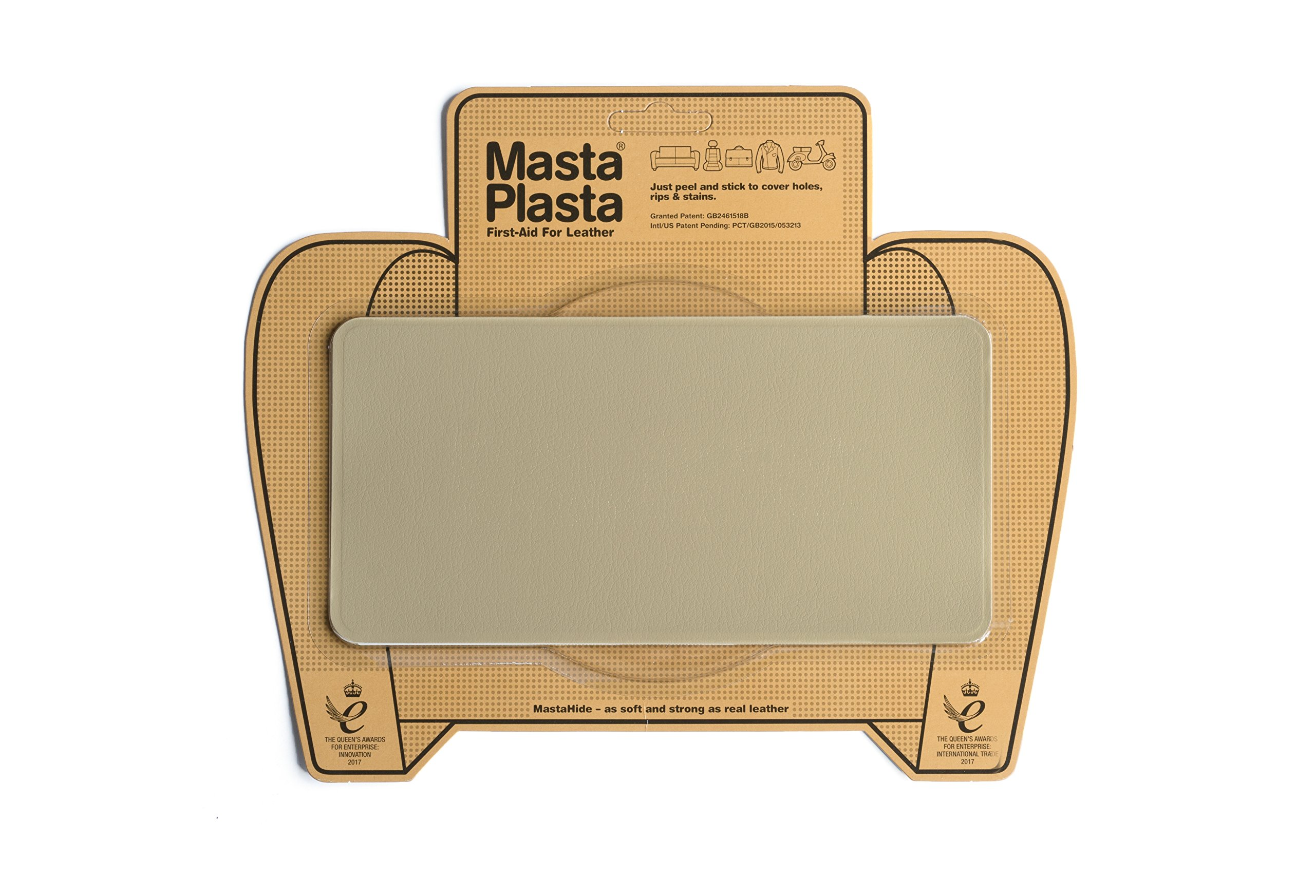 MastaPlasta, Leather Repair Patch, First-Aid for Sofas, Car Seats, Handbags, Jackets, Plain, Beige large Stitch 8''x4''