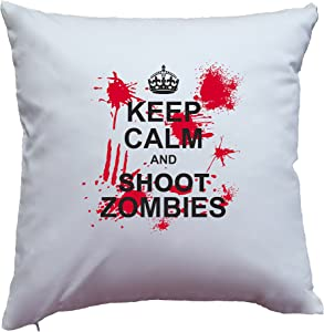 """Apericots Pillow Cover Killer """"Keep Calm and Shoot Zombies"""" Design (White)"""