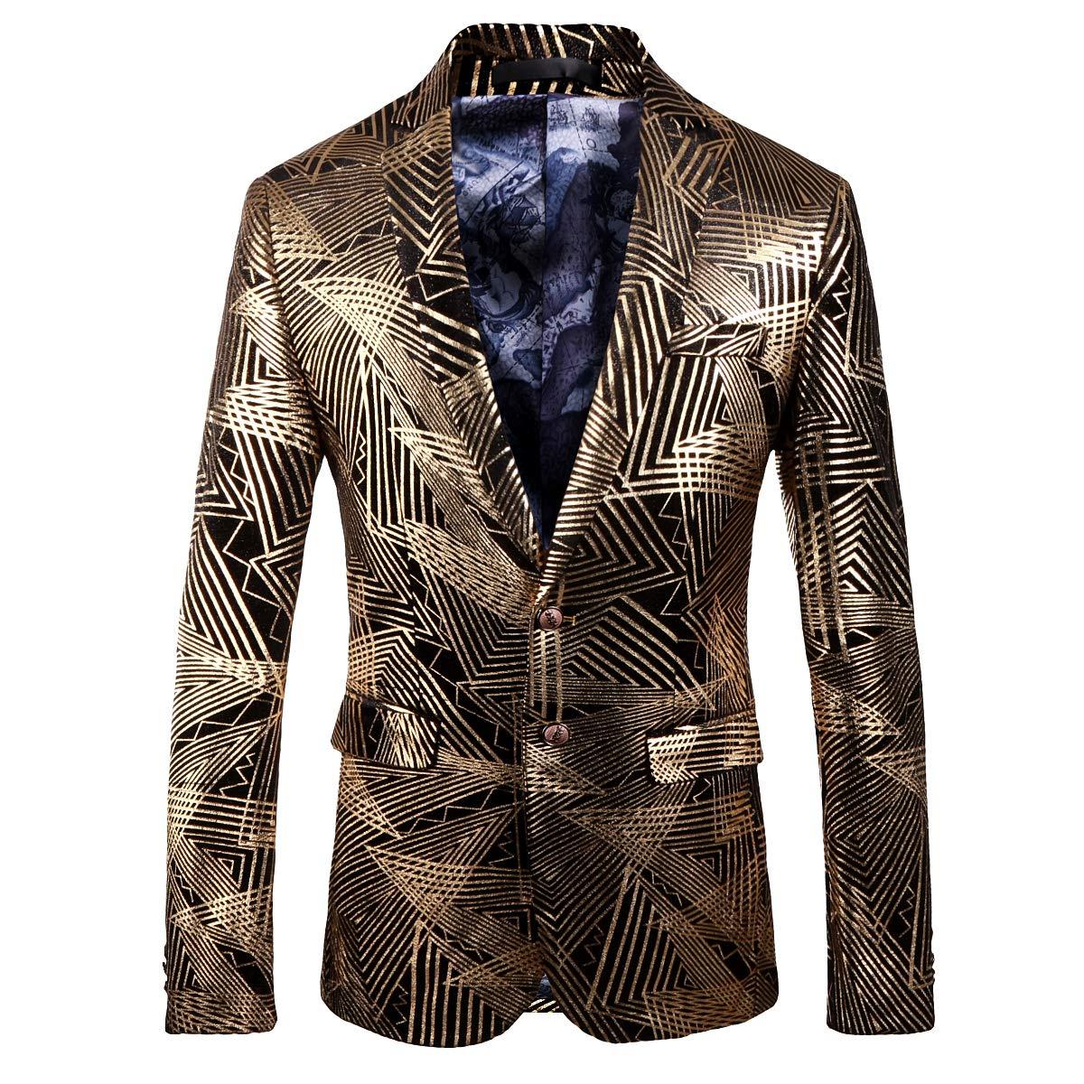 YOUTHUP Blazer Homme Costume Slim Fit Chic Jacquard Floral Voyant avec Deux Boutons /à la Mode Soir/ée Bal Mariage