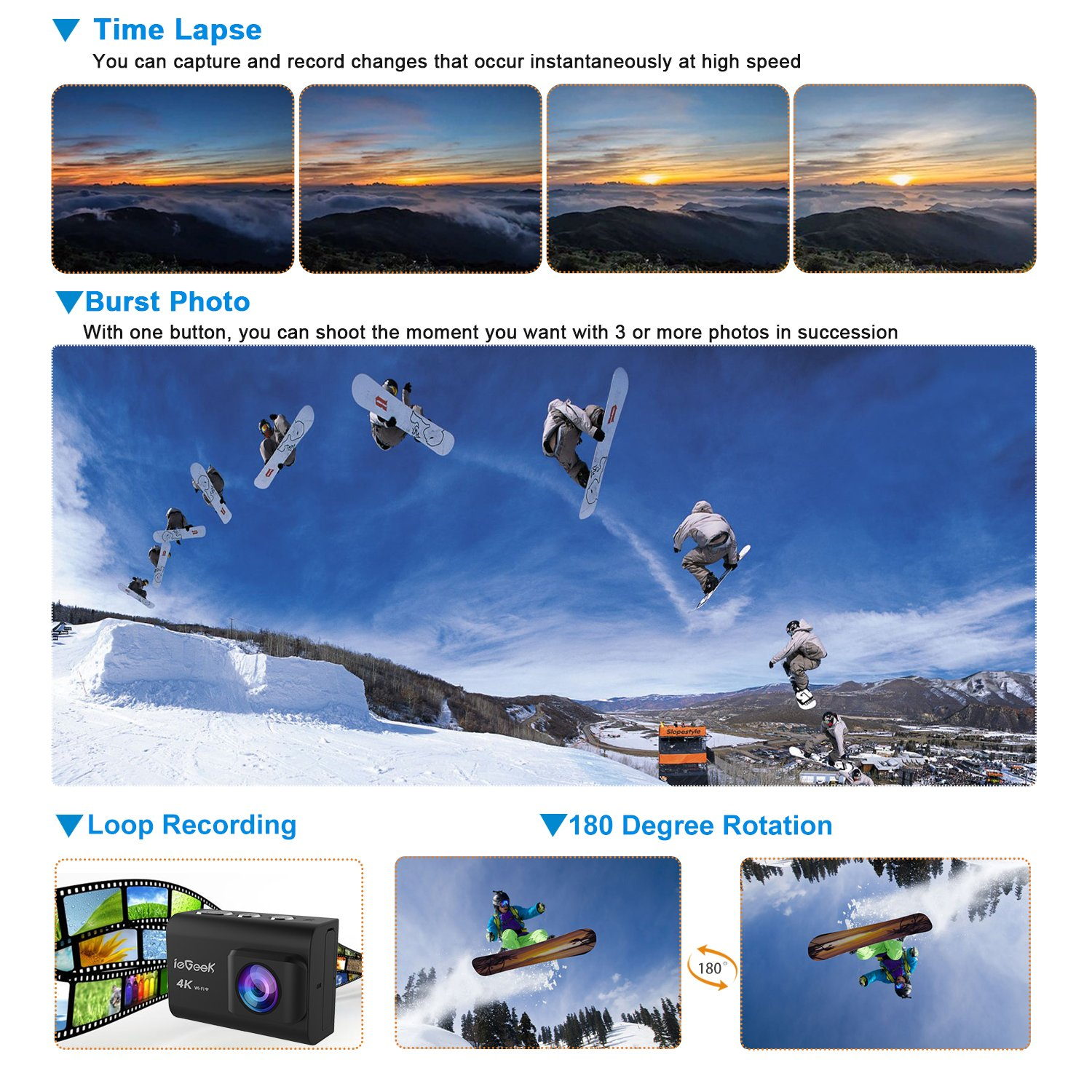 Action Camera, ieGeek 4K 20MP WiFi Waterproof Sports Cam Ultra HD Underwater Camera DV Camcorder EIS Image Stabilizer 170 Degree Wide-Angle with 2 Battery/External Microphone/Carry Case/Accessory Kit by ieGeek (Image #6)
