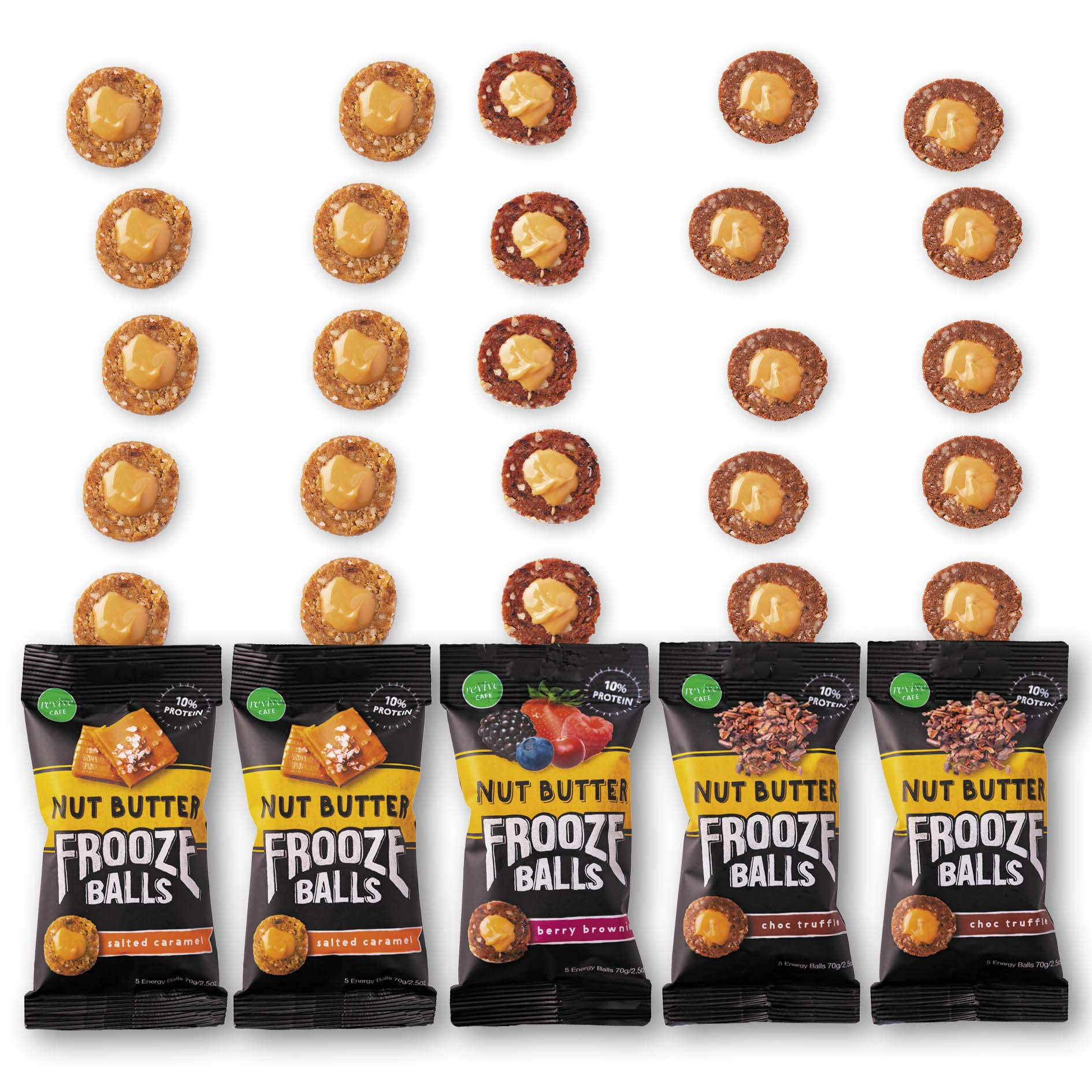Frooze Balls Peanut Butter Filled Energy Balls, Variety Pack (Pack of 5) | Plant Protein | Gluten Free | Vegan | Non GMO