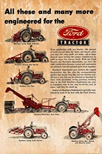 """Lplpol Ford Tractor Advert Vintage Retro Style Metal Sign, Garage, shed, Aged, Workshop 12"""" x 18"""""""