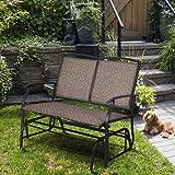 Amazon.com: PHI VILLA - Banco de patio para 2 personas con ...