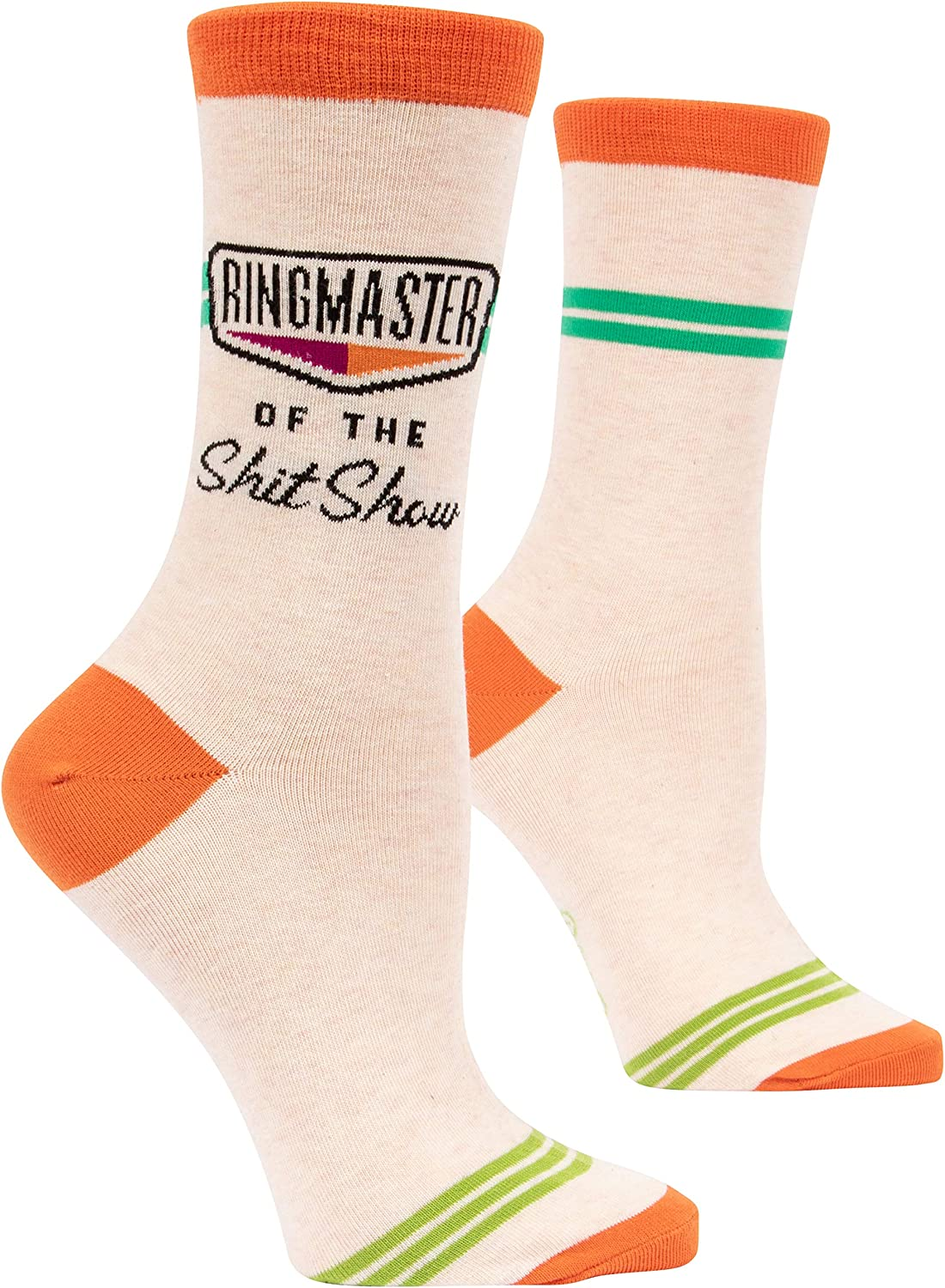 Blue Q Socks, Women's Crew, Ringmaster of The Shit Show (Orange) (Women's Shoe Size 5-10): Clothing