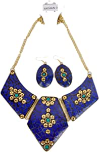 مجموعة من قلادة و حلق تراثي نسائي من تازما ، ازرق