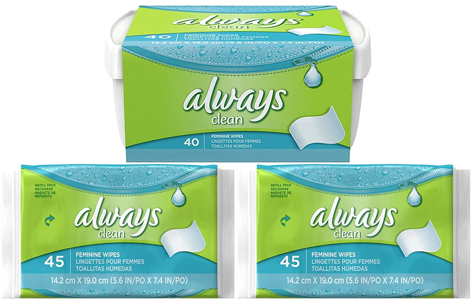 Amazon.com: Always Wipes Lightly Scented Combo Pack, 1-40 Count Tub, Plus 2-45 Count Refills: Health & Personal Care