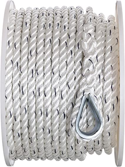1//2 Inch x 150 Ft Premium Three Strand Twisted Nylon Anchor Line for Boats