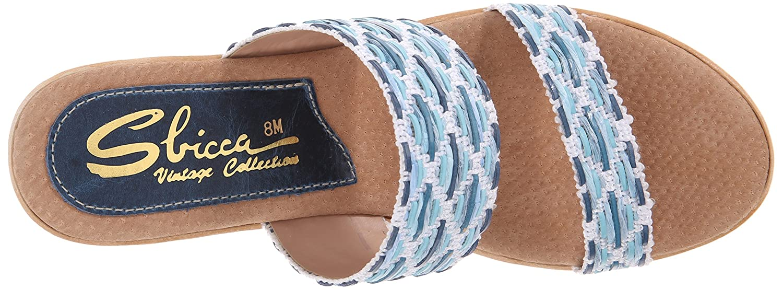 Sbicca Women's Sesillia Wedge B(M) Sandal B015W69NFE 9 B(M) Wedge US|Blue/Multi e01368