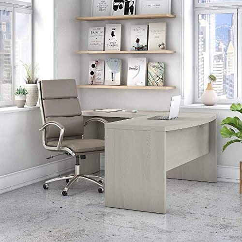 Office by Kathy Ireland Echo L Shaped Bow Front Desk in Gray Sand