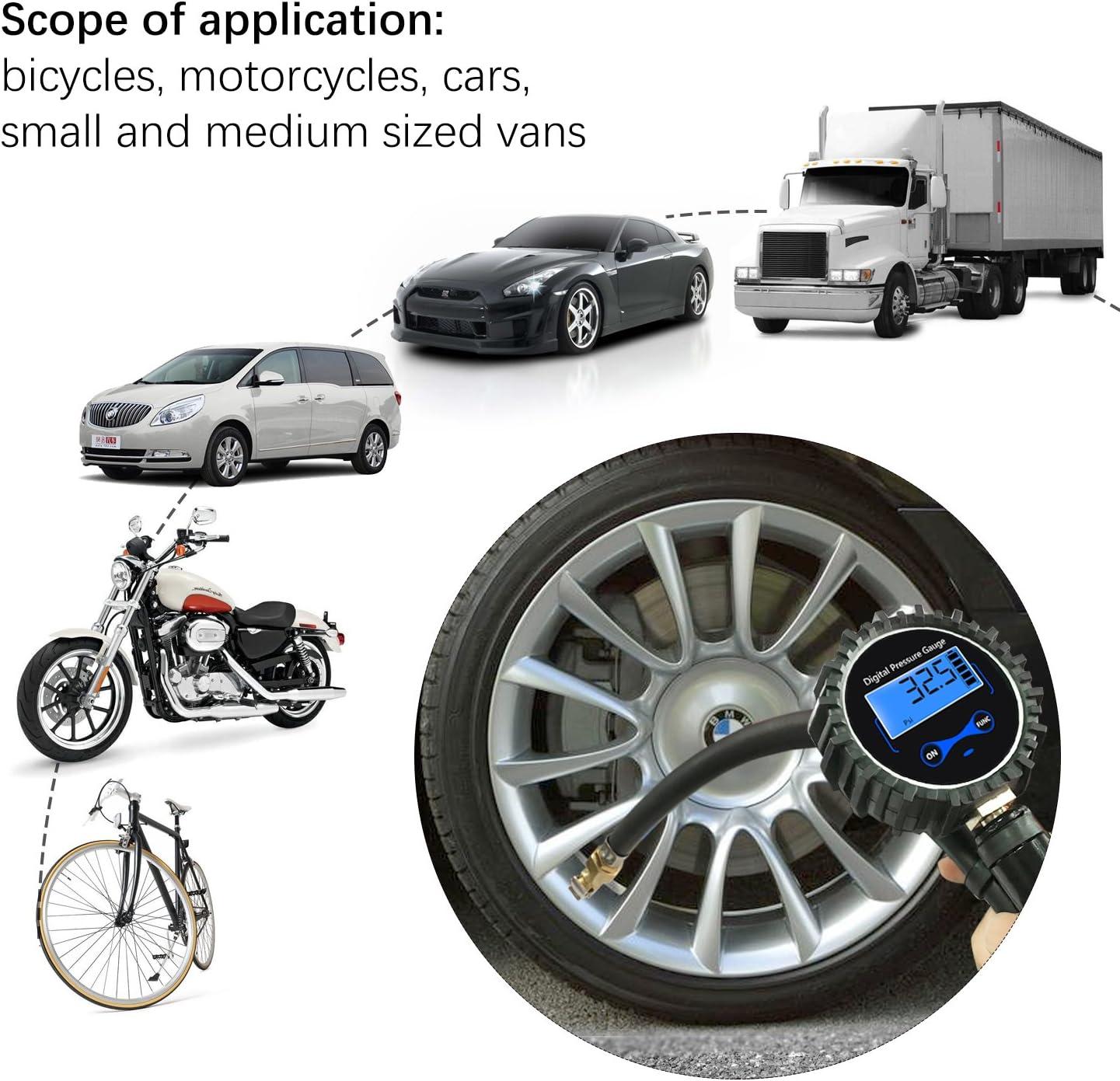 Longruner 250 PSI Man/ómetro Digital Medidor de Presi/ón de Neum/áticos con Manguera y Acoplador para Motocicleta Bcicleta y Coche Pantalla LCD LV12