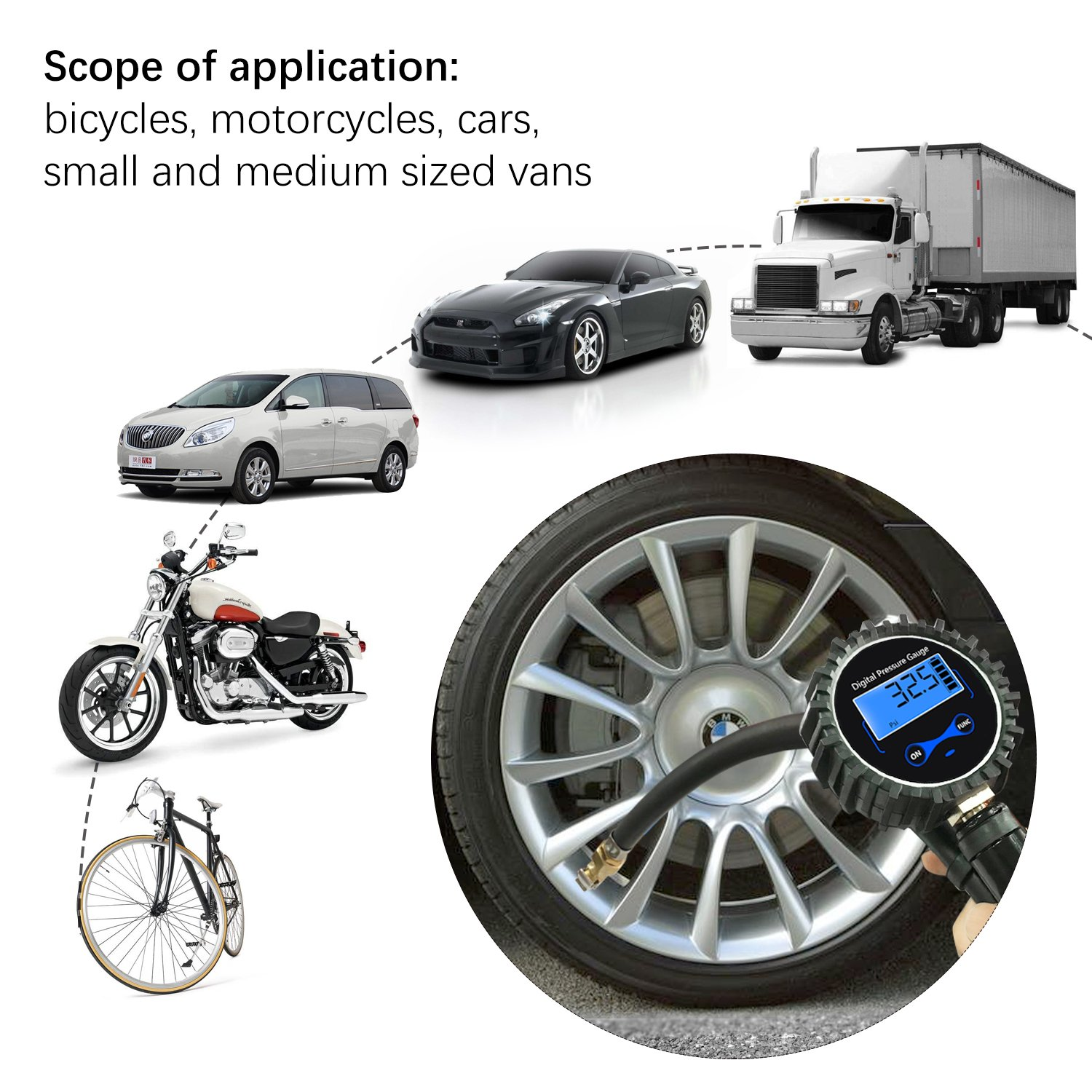 Blue Motorcycle SUV Truck,RV Bike LV12 Longruner Digital Tire Inflator with Pressure Gauge 200 PSI Air Chuck and Compressor Accessories 0.1 Display Resolution Quick Connect Coupler for Car