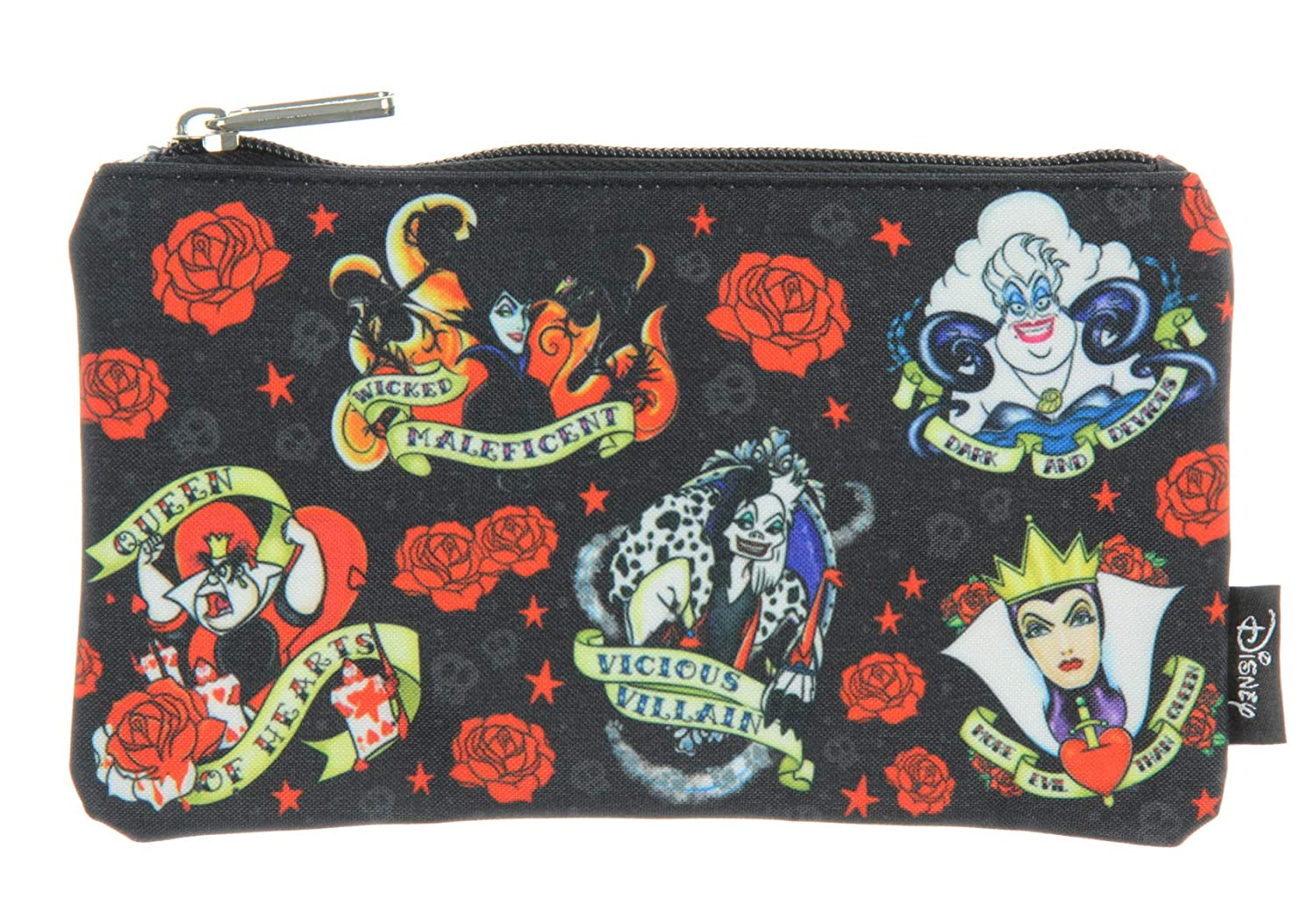 Loungefly Disney Villains Tattoo Allover Print School Pencil Case